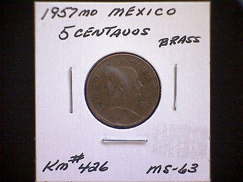 1957mo MEXICO FIVE CENTAVOS
