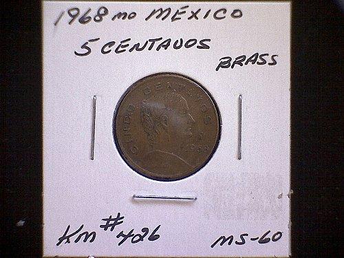 1968 MEXICO FIVE CENTAVO