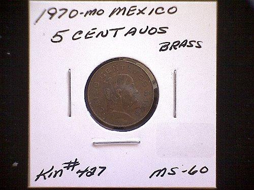 1970 mo MEXICO FIVE CENTAVOS
