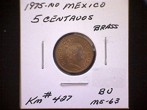 1975mo MEXICO FIVE CENTAVOS