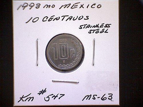 1993mo MEXICO TEN CENTAVOS