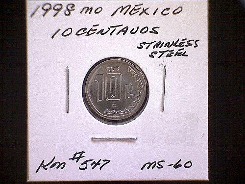 1998mo MEXICO TEN CENTAVOS