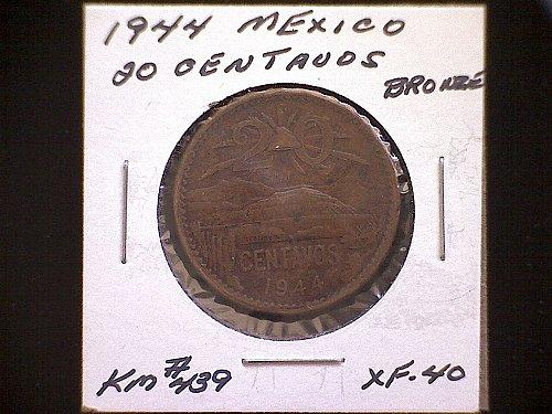 1944 MEXICO TWENTY CENTAVOS