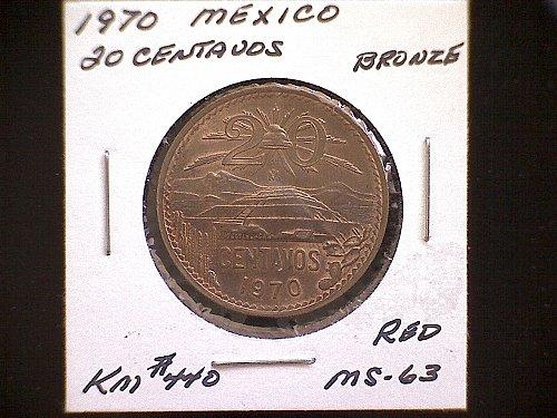 1970 MEXICO TWENTY CENTAVOS