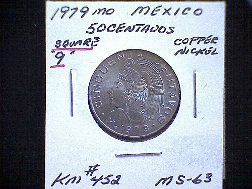 "1979mo MEXICO FIFTY CENTAVOS ""SQUARE 9"" VARIETY"