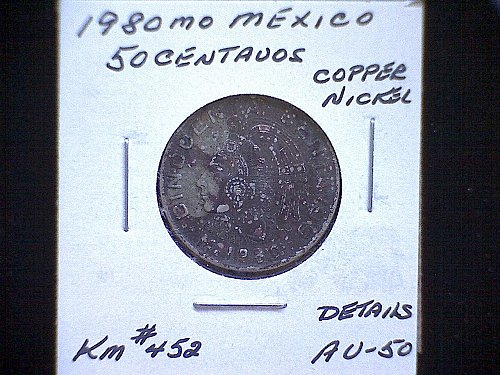 "1980MO MEXICO FIFTY CENTAVOS  ""VARIETY"""