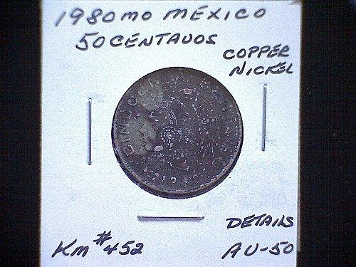 """1980MO MEXICO FIFTY CENTAVOS  """"VARIETY"""""""