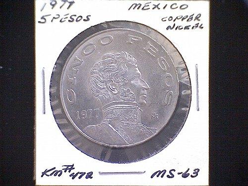 1977mo MEXICO FIVE PESOS