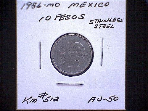 1986mo MEXICO TEN PESOS