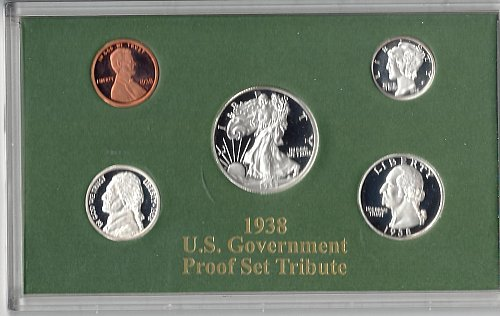 1938 U.S. Government Proof Set Tribute - Five reproductions in secure plastic fr