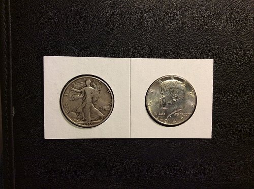 PAIRED UP SILVER HALF DOLLARS....30 YEARS APART