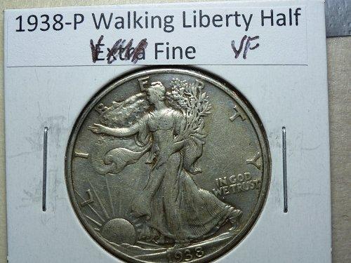 1938-P Very Fine Walking Liberty Half Dollar