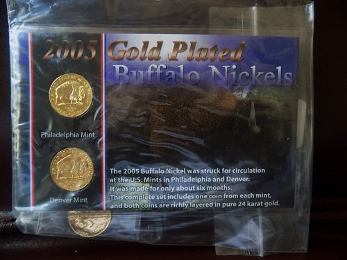 2005 P&D Buffalo 24K Gold Plated (3) Nickels Sealed Mint Condition Lewis & Clark
