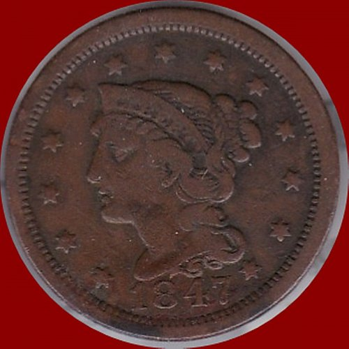 1847 Braided Hair Liberty Head Large Cents  (321)