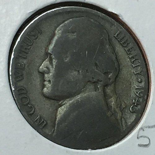 1943-P Jefferson Wartime Nickel (10222)