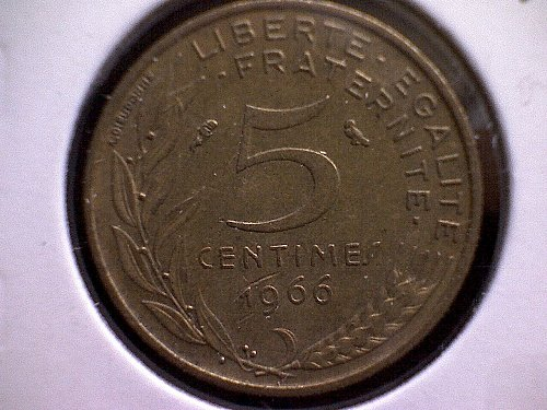 1966 FRANCE FIVE CENTIMES