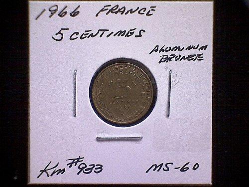 1966 FRANCE FIVE CENTIMES