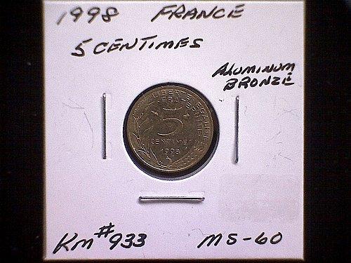 1998 FRANCE FIVE CENTIMES