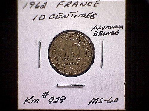 1962 FRANCE TEN CENTIMES