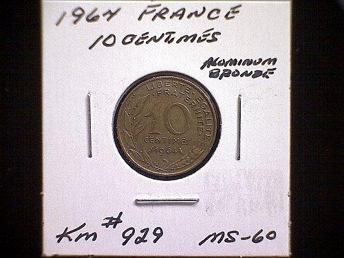 1964 FRANCE TEN CENTIMES