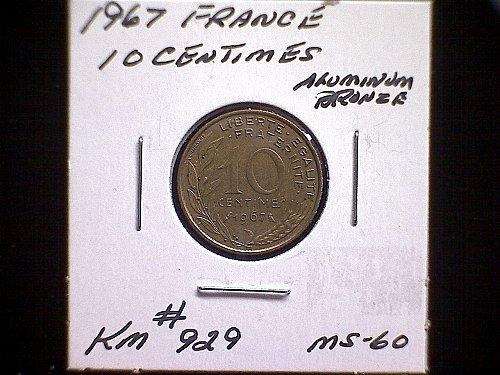 1967 FRANCE TEN CENTIMES