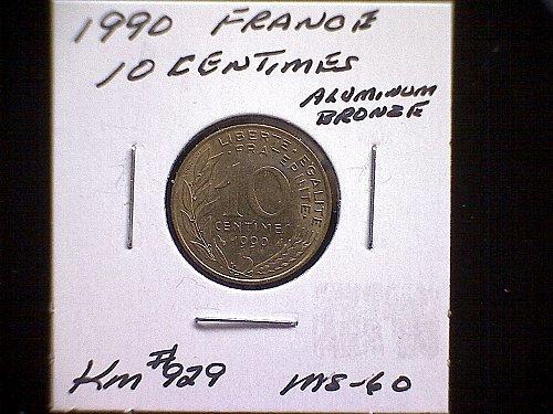 1990 FRANCE TEN CENTIMES