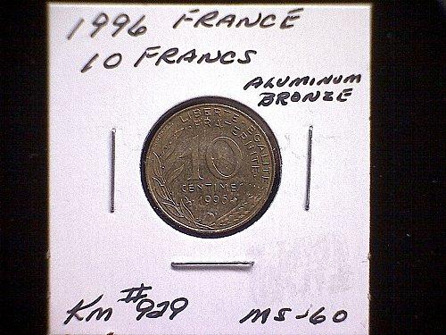 1996 FRANCE TEN CENTIMES