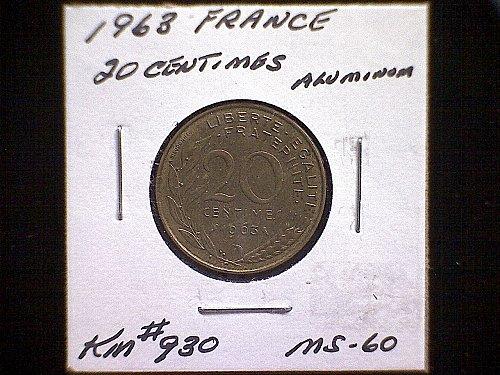 1963 FRANCE TWENTY CENTIMES