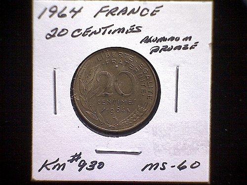 1964 FRANCE TWENTY CENTIMES
