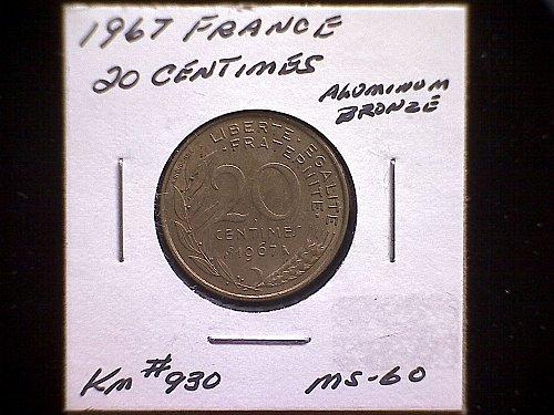 1967 FRANCE TWENTY CENTIMES