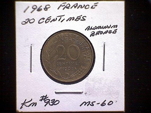 1968 FRANCE TWENTY CENTIMES
