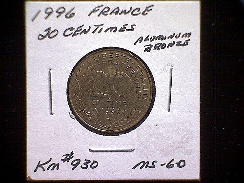 1996 FRANCE TWENTY CENTIMES