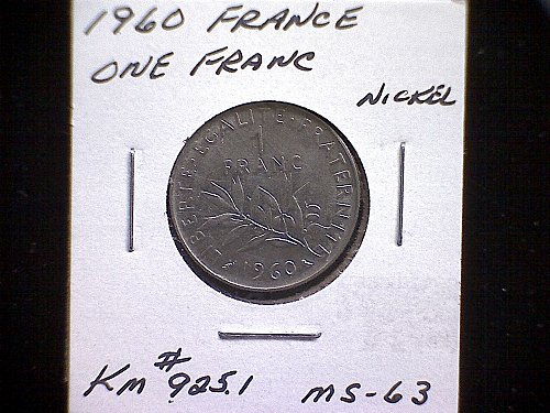 1960 FRANCE ONE FRANC