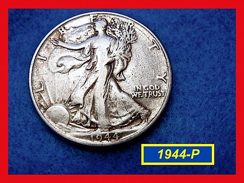 "1944-P  Liberty Walking Half  ★ ""VF""   (#1599)√"