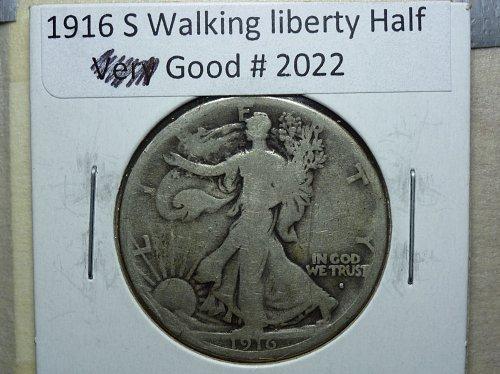 1916 S Obverse Walking Liberty Half Dollar.