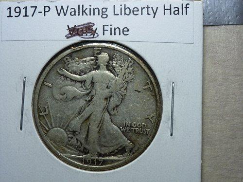 1917 P Fine Grade Walking Liberty Half Dollar.