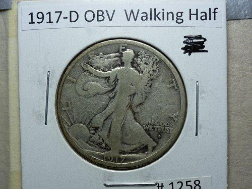 1917 D Obverse Very Good Grade Walking Liberty Half Dollar.