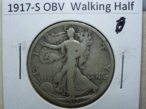 1917 S Obverse Very Good Grade Walking Liberty Half Dollar.