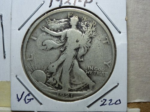 1921 P Walking Liberty Half Dollar. Grades Very Good