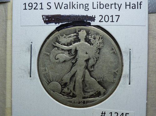 1921 S Walking Liberty Half Dollar. Grades Good +