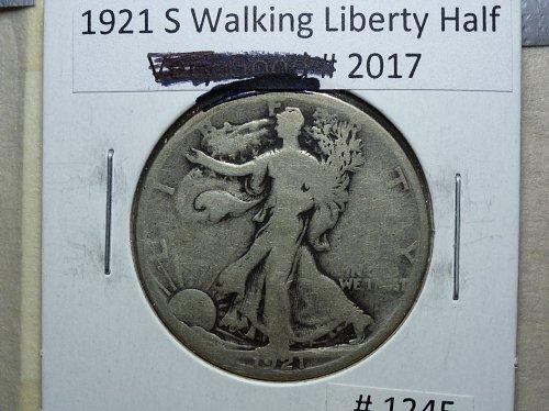 1921 S Walking Liberty Half Dollar. Grades Good +