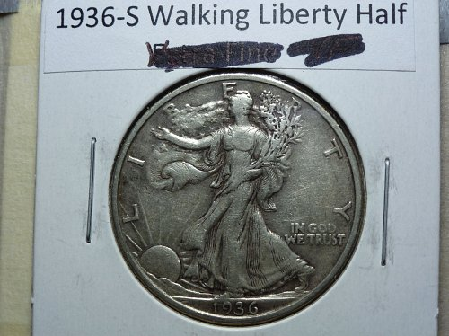 1936 S Walking Liberty Half Dollar.