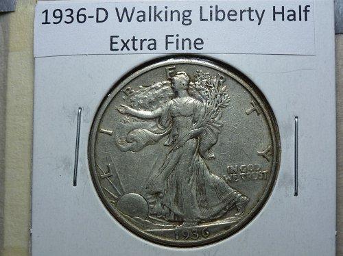 1936 D Walking Liberty Half Dollar.