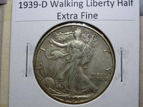 1939 D Extra Fine Walking Liberty Half Dollar