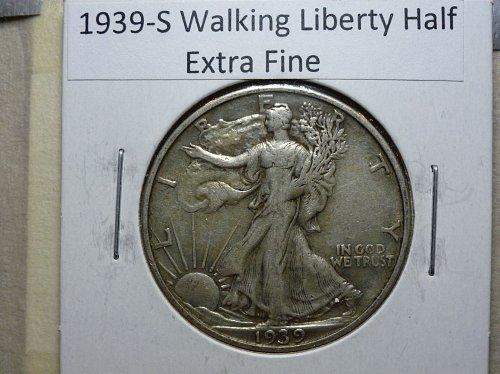 1939 S Extra Fine Walking Liberty Half Dollar
