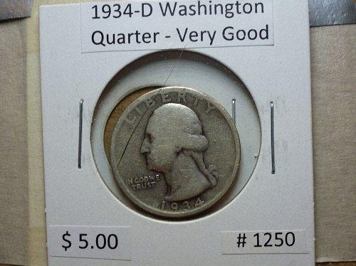 1934-D Washington Silver Quarter