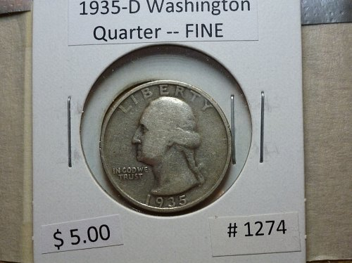 1935-D Washington Silver Quarter