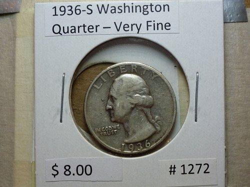 1936-S Washington Silver Quarter