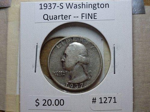 1937-S Washington Silver Quarter