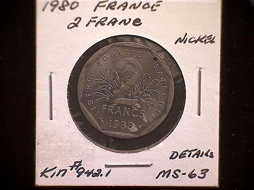 1980 FRANCE TWO FRANC  W/DETAILS